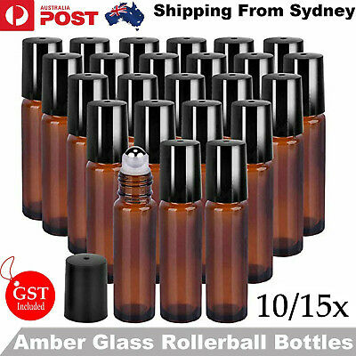5/10 10ml Roller Bottles Amber THICK Glass Steel Roll on Ball for Essential Oils