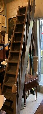Rare Antique Gothic English Carved Wood Library Steps 119""