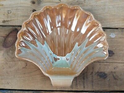 VTG Peach Lustre Sea Shell Soap Dish Trinket Jewelry Fire King Anchor Hocking