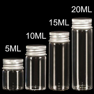 100 Sets Small Glass Bottles with Aluminum Screw Top Lids 5ml Cute Tiny Vials