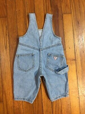 VTG Baby Guess Jeans USA Light Wash Blue Denim Jean Overall Shorts Size 6 Months