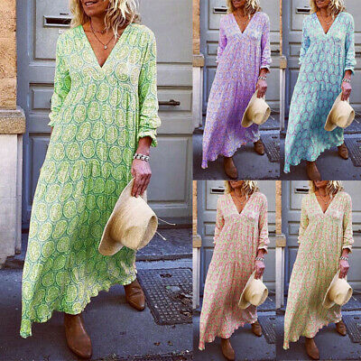 Women Boho Floral V Neck Long Sleeve Long Maxi Casual Cocktail Party Beach Dress