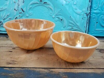 "Vintage Fire King Oven Ware Nesting Peach Luster Swirl Mixing Bowls 7 & 9"" FireK"