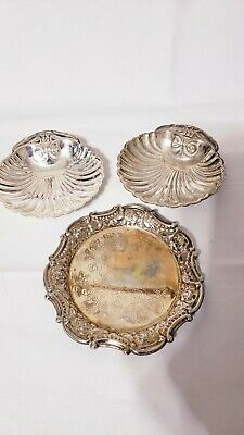 3Vintage SILVERPLATE Shell Clam Nuts Caviar RELISH DISH with WINGED DRAGON Mark