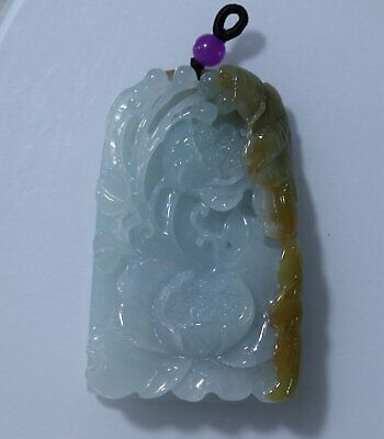 Chinese Exquisite Hand-carved lotus frog Carving jadeite jade Pendant