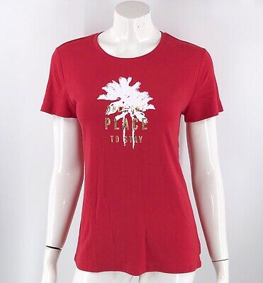 Faded Glory Top Size Large Red Graphic Palm Tree Only One Place to Stay Womens