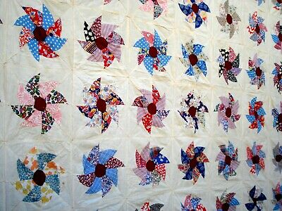Vtg 30's 40's Windmill quilt top hand stitched