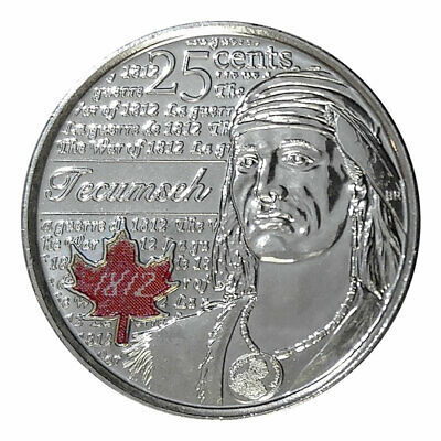 2012 CANADA 25 Cent TECUMSEH Coloured  Coin From Mint Roll UNC