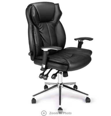 Ergonomic Leather Height Adjustable Rolling High Back Office Chair 360° Swivel