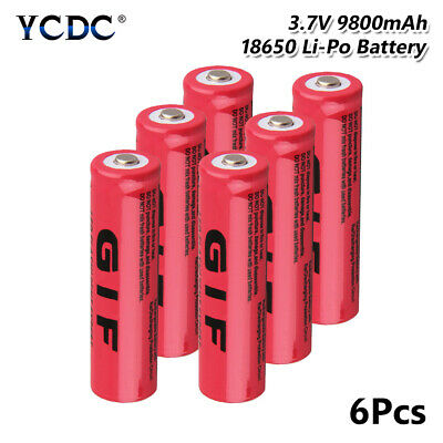 18650 Battery Rechargeable 3.7V 9800mAh Li-ion Cell For Headlamp Torch 6Pcs C20