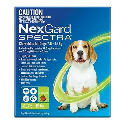 Nexgard Spectra Green 6 for Medium Dogs 7.6-15 kg 6-Pack - Brand New - RRP $129