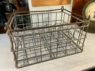 Vintage Australian Galvanised Metal Bottle Delivery Storage Crate