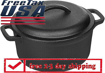 Pre-Seasoned Cast Iron Dutch Oven Pot With Lid And Dual Handles, 2-Quart