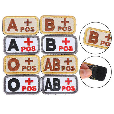 3D Military Outdoor Tactical Blood Type A B AB O POS Hook Patch BadgesX