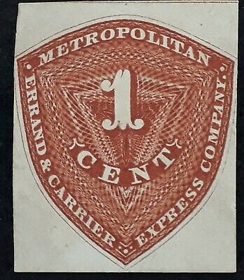 RARE c.1850s United States 2c brown Metro Errand &Courier Express Company stamp