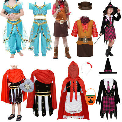 Kids Coatume Witch Roman Warrior Cosplay Outit Set Cowgirl Princess Fancy Dress