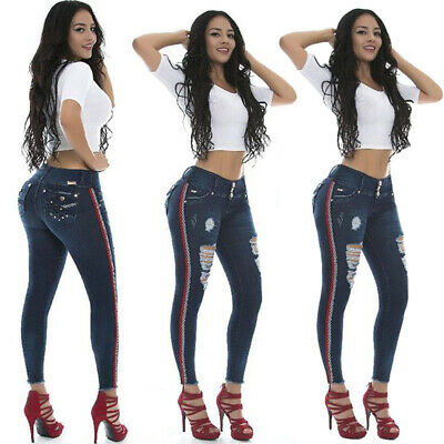 UK Womens High Waist Ripped Denim Jeans Skinny Stretchy Jeggings Trousers Pants