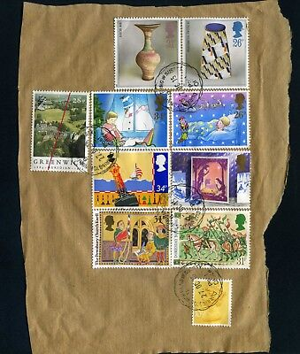 GB ten Stamps on paper from parcel