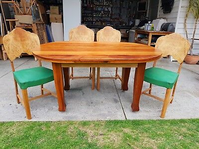 Art Deco Kitchen Dining Wooden TableOn Casters With Four Green Vinyl Chair Seats