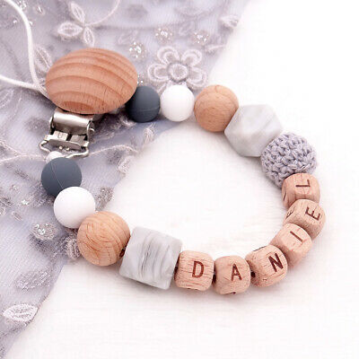 Free Personalized Name Dummy Clip Wood Silicone Pacifier Chain Baby Soother Hold