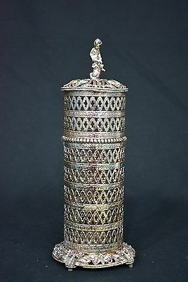 Vintage Ornate Sam Fink Hairspray Can Holder / Can Cover With Lid. Beautiful.