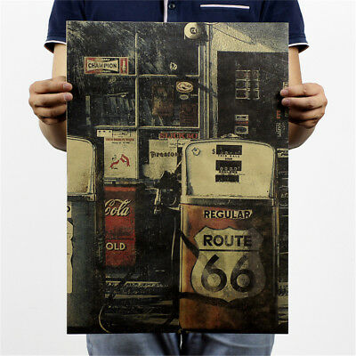 66 road gas station kraft paper posters customer bedroom background wall.stic FE