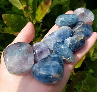 STUNNING VERY RARE BLUE FLUORITE TUMBLE STONES. EXTRA LARGE. CRYSTAL, 1 Piece.