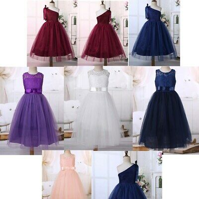 Flower Girls Princess Lace Dress Kids Party Formal Wedding Bridesmaid Prom Gown