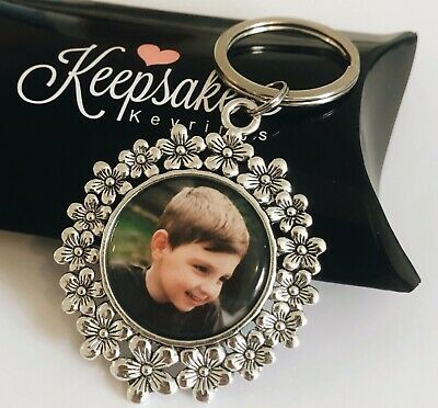 Flower Daisy Personalised Photo Chain Keyring - Christmas Present Gift Box
