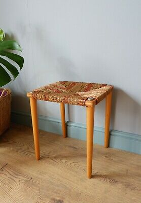 Vintage retro bohemian style 1970s wicker rattan stool / side table