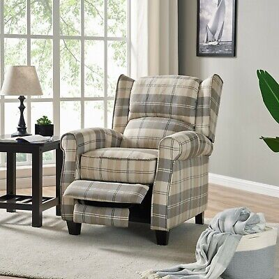 Tartan Fabric Recliner Armchair Grey Beige Lounge Chair Living Room Furniture