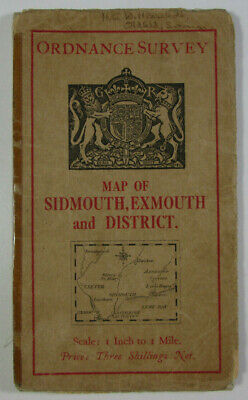 1931 Old OS Ordnance Survey One-Inch Popular Edition Map Sidmouth Exmouth etc