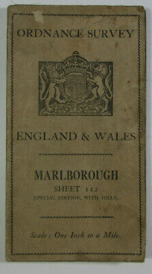 1931 Old Vintage OS Ordnance Survey One-Inch Popular Edition Map 112 Marlborough