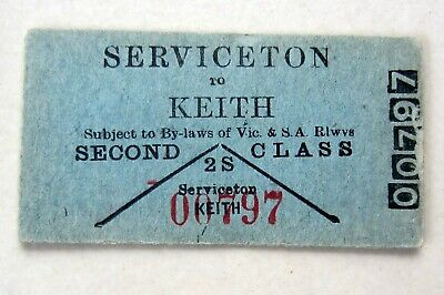 VR & SAR - Pre 1939 Red Number - Serviceton to Keith - Second Class Single
