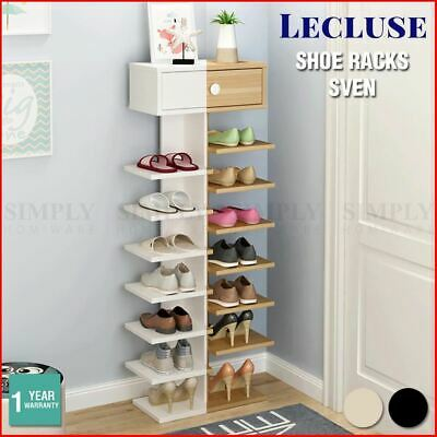Lecluse Wooden Shoe Rack 16 Pairs 8 Tier Storage Organiser Display Narrow Tall