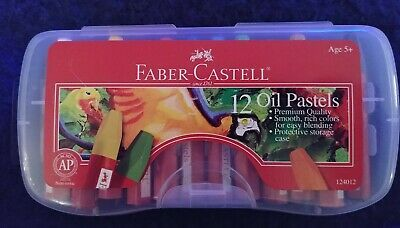 Faber Castell Non-Toxic 12 Oil Pastel Set With Storage Case #124012 NEW