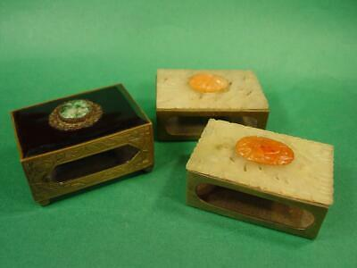 3 Vintage Art Deco Era Brass & Carved Stone Matchbox Cover Holders