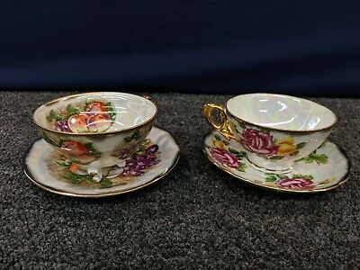 Tea Cup Sauce Plate Decoration Footed China Wear Royal Sealy Fruit Flowers Japan