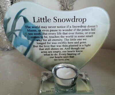 Glass Photo Frame Memorial Candle Holder Family Decoration - (Little Snowdrop)