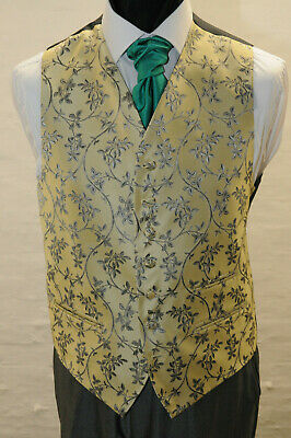W 2044 Mens/Boys Pale Gold And Floral Waistcoat / Dress/ Suit / Formal