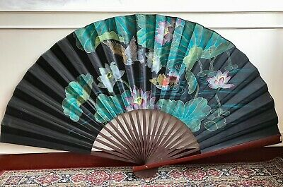 Very LARGE Ceremonial Oriental Hand Painted Lotus Water Bird Wooden Japanese Fan