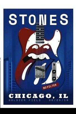 The Rolling Stones Poster June 25,2019 Soldier Field Chicago, Limited #499/500