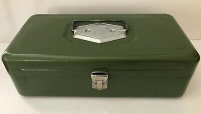 OLD PAL Tackle Fishing Box Green METAL Vintage Made in USA