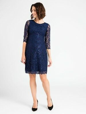 $125 jojo maman bebe NAVY LACE MATERNITY SHIFT DRESS~size 10 12~NWT