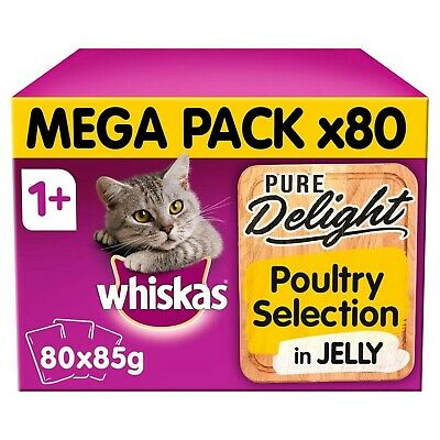 80 x 85g Whiskas Pure Delight 1+ Adult Cat Food Pouches Mixed Poultry in Jelly