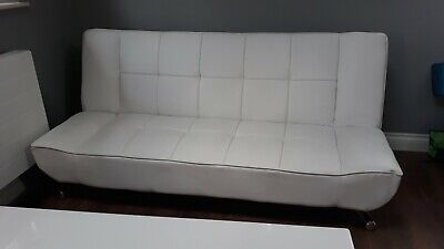 White Faux Leather 3 Seater Small Double Sofa Bed