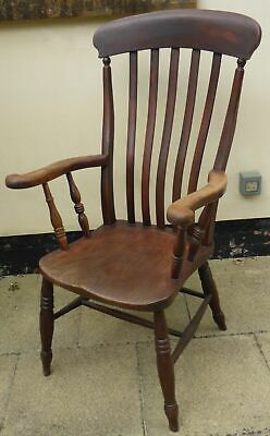Victorian Country Lath Back Kitchen Windsor High Back Chair C1880