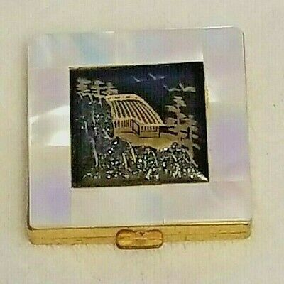 Vintage Gold Tone Mother of Pearl Compact Makeup Mirror ~  MARHILL