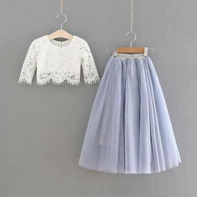 Premium Couture Child Silver Grey Pretty Lace Crop / Tulle Skirt Occasion Wear