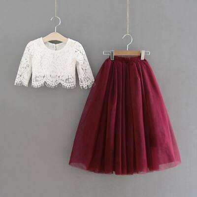 Premium Couture Berry Red Pretty Lace Crop / Tulle Skirt Child Occasion Wear